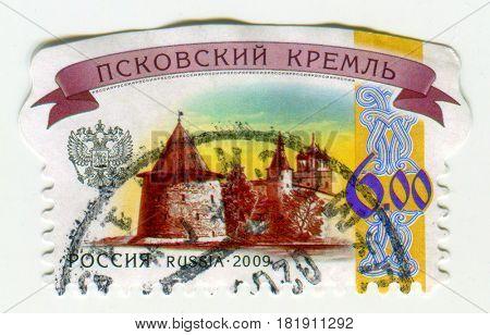 GOMEL, BELARUS, APRIL 16, 2017. Stamp printed in Russia shows image of  The Pskov Krom (or Pskov Kremlin) is an ancient citadel in Pskov, Russia, circa 2009.