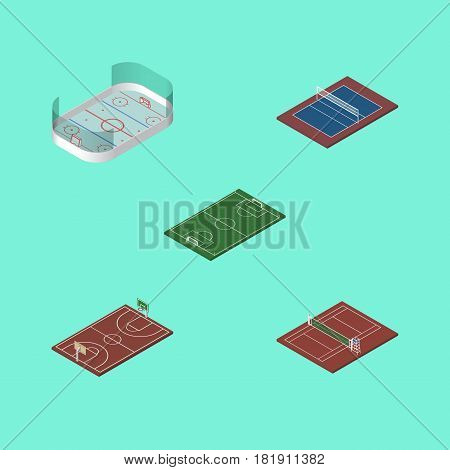 Isometric Competition Set Of Ice Games, Tennis, Volleyball And Other Vector Objects. Also Includes Playground, Tennis, Volleyball Elements.