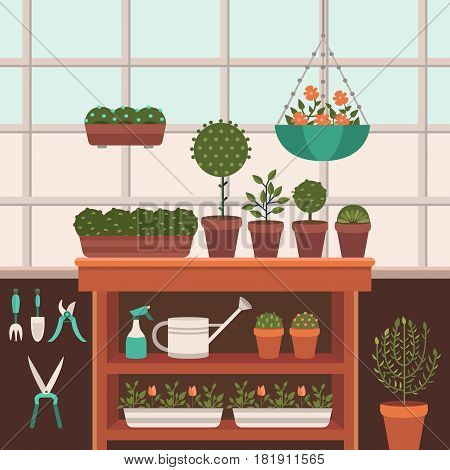 Vector illustration of a greenhouse for plants. Growing flowers. Work in the garden in the summer and spring. Tools for gardening. Flat style.