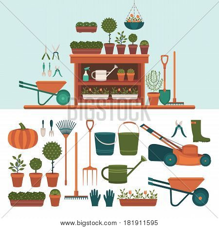 Collection of tools for gardening. Illustration of a greenhouse for plants. Work in the garden in the summer. Set of vector elements: shovel, rake, lawn mower, flowers, watering can, wheelbarrow.