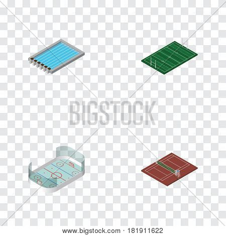Isometric Competition Set Of Volleyball, Ice Games, Basin And Other Vector Objects. Also Includes Volleyball, Hockey, Swimming Elements.