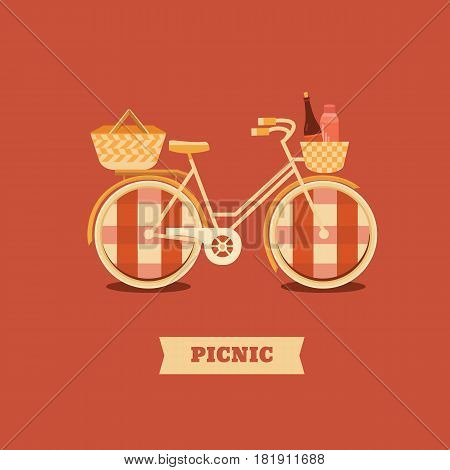 Illustration to go camping or a picnic. Vector background with bicycle. Banner weekend outdoors. Set of elements: bike, basket, thermos, wine. Activity and sport in nature.