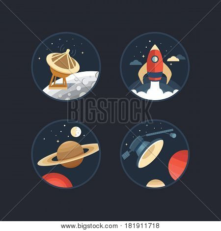 Set of vector icons of space. Collection of elements: planet, moon, satellite, rocket, antenna. Illustration life on Mars and other planets. Rocket launch into space. Cosmos exploration. Flat style.