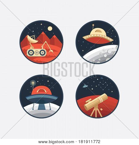 Set of vector icons of space. Collection of elements: Ufo, planet, moon, satellite, robot, telescope. Illustration life on Mars and other planets. Space research. Cosmos exploration. Flat style.