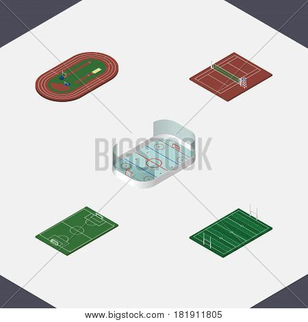 Isometric Competition Set Of Soccer, Run Stadium, Volleyball And Other Vector Objects. Also Includes Run, Volleyball, Soccer Elements.