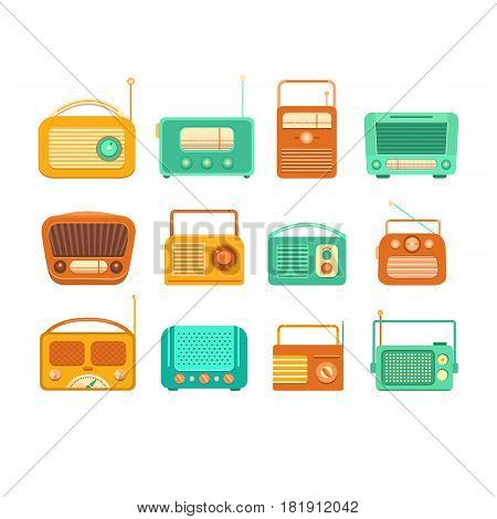 Collection of vintage tape recorder and radio on a white background. Set of isolated vintage tape recorders. Illustration of nostalgia. Retro music. Background for banner, ticket, card, album.
