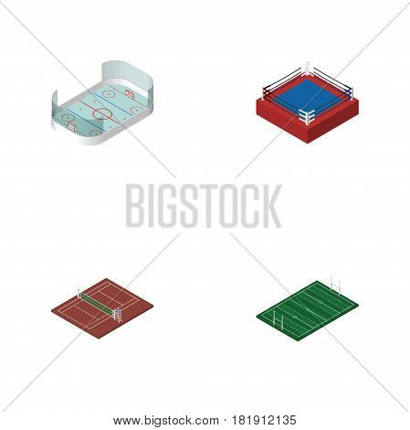 Isometric Competition Set Of American Football, Fighting, Ice Games And Other Vector Objects. Also Includes Volleyball, American, Boxing Elements.