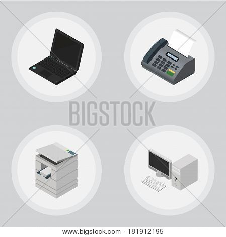Isometric Office Set Of Office Phone, Laptop, Computer And Other Vector Objects. Also Includes Photocopier, Desktop, PC Elements.