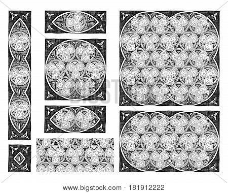 Seamless celtic spirals patterns in ink hand drawn style.