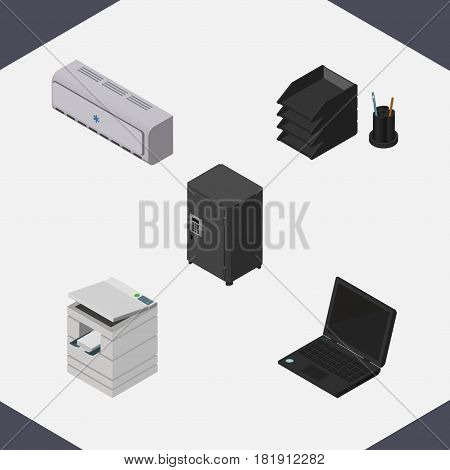 Isometric Cabinet Set Of Wall Cooler, Strongbox, Desk File Rack And Other Vector Objects. Also Includes Printer, Computer, Rack Elements.
