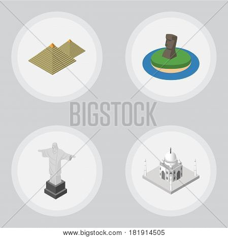 Isometric Travel Set Of India Mosque, Rio, Egypt And Other Vector Objects. Also Includes Chile, Egypt, Monument Elements.