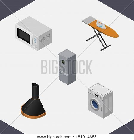 Isometric Technology Set Of Kitchen Fridge, Air Extractor, Cloth Iron And Other Vector Objects. Also Includes Laundry, Hood, Stove Elements.