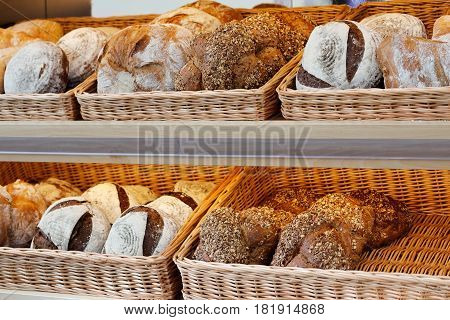 Artisan bread on the shelves in bakeshop.
