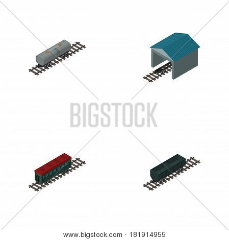 Isometric Wagon Set Of Subway Vehicle, Oil Wagon, Depot And Other Vector Objects. Also Includes Railway, Passenger, Coal Elements.