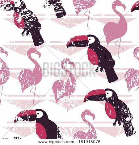 Seamless pattern with tropical birds on ping geometric background. Vector illustration.
