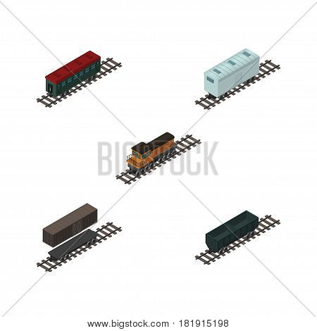 Isometric Wagon Set Of Delivery Tank, Carbon Railway Container, Railroad Carriage And Other Vector Objects. Also Includes Carriage, Container, Coal Elements.