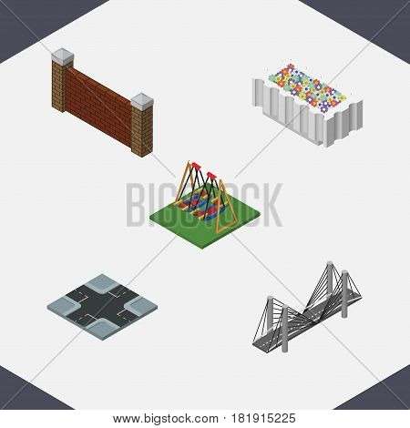 Isometric Urban Set Of Barrier, Seesaw, Intersection And Other Vector Objects. Also Includes Plants, Road, Intersection Elements.