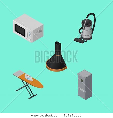 Isometric Appliance Set Of Air Extractor, Microwave, Vac And Other Vector Objects. Also Includes Vac, Stove, Vacuum Elements.
