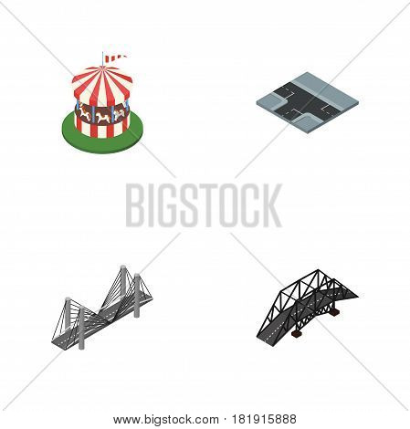 Isometric City Set Of Expressway, Carousel, Crossroad And Other Vector Objects. Also Includes Road, Carousel, Crossroad Elements.