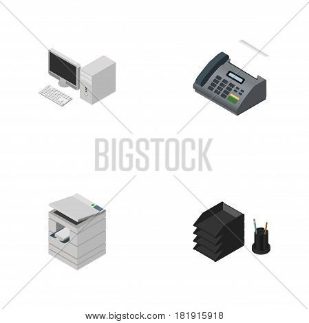 Isometric Business Set Of Computer, Desk File Rack, Office Phone And Other Vector Objects. Also Includes Tray, PC, Printer Elements.