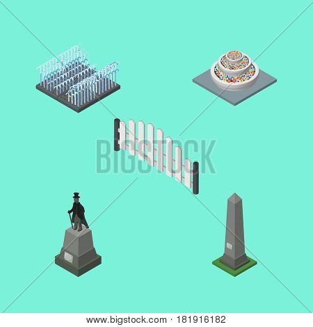 Isometric Architecture Set Of Barricade, Dc Memorial, Sculpture And Other Vector Objects. Also Includes Dc, Barricade, Flowers Elements.