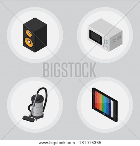 Isometric Electronics Set Of Television, Microwave, Music Box And Other Vector Objects. Also Includes Vac, Loudspeaker, Television Elements.