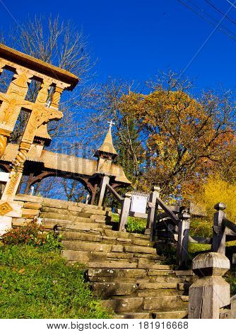 Wooden steps to a church in maramures Romania