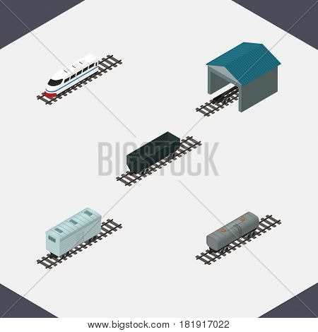 Isometric Wagon Set Of Depot, Carbon Railway Container, Railroad Carriage And Other Vector Objects. Also Includes Coal, Depot, Train Elements.