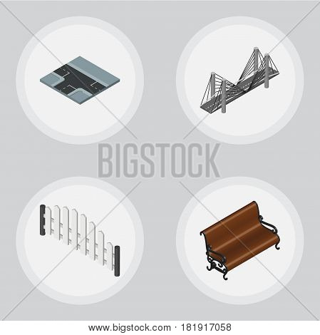 Isometric Urban Set Of Sitting, Barricade, Crossroad And Other Vector Objects. Also Includes Park, Way, Fence Elements.