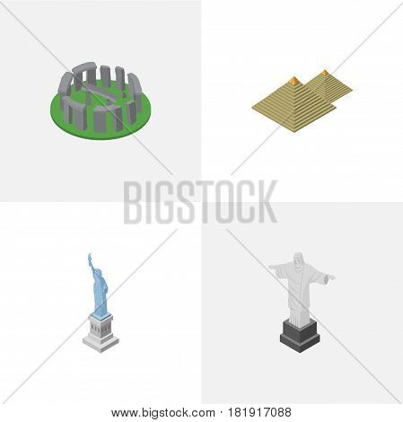 Isometric Cities Set Of England, Rio, New York Vector Objects. Also Includes Egypt, Redeemer, England Elements.