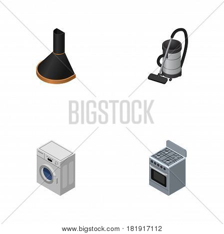 Isometric Technology Set Of Stove, Air Extractor, Vac And Other Vector Objects. Also Includes Cleaner, Vac, Machine Elements.