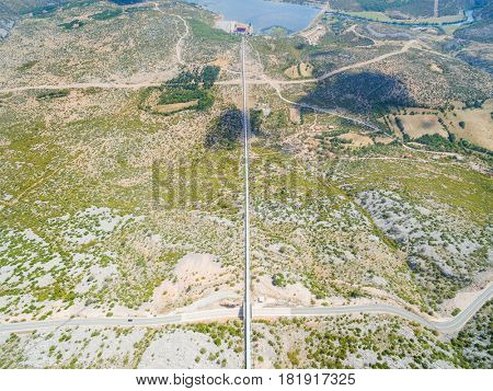 Aerial view of hydro electric  pipeline.