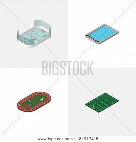 Isometric Sport Set Of American Football, Ice Games, Run Stadium And Other Vector Objects. Also Includes Hockey, Field, Running Elements.