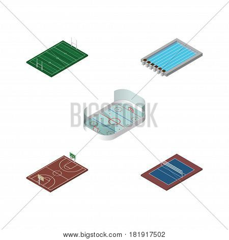 Isometric Lifestyle Set Of B-Ball, Basin, American Football And Other Vector Objects. Also Includes Volleyball, Basin, Pool Elements.