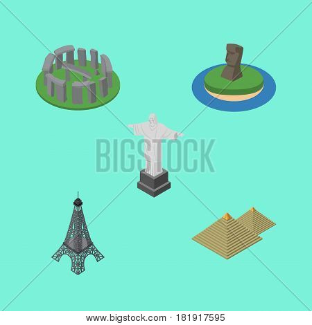 Isometric Cities Set Of Chile, Paris, Rio And Other Vector Objects. Also Includes Christ, Eiffel, Stonehenge Elements.