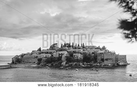 Island of Sveti Stefan, black and white photo. Montenegro, the Adriatic Sea, the Balkans.