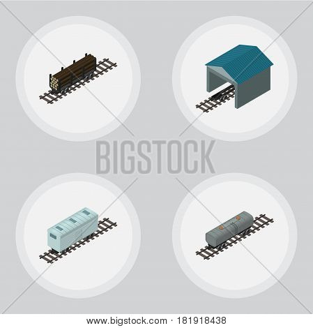 Isometric Railway Set Of Depot, Oil Wagon, Railroad Carriage And Other Vector Objects. Also Includes Metal, Railway, Carriage Elements.
