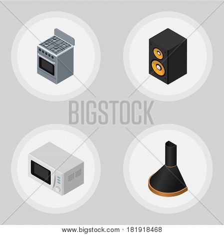 Isometric Technology Set Of Air Extractor, Stove, Music Box And Other Vector Objects. Also Includes Extractor, Microwave, Loudspeaker Elements.