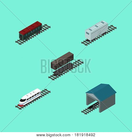 Isometric Transport Set Of Depot, Railroad Carriage, Delivery Tank And Other Vector Objects. Also Includes Tank, Depot, Railway Elements.