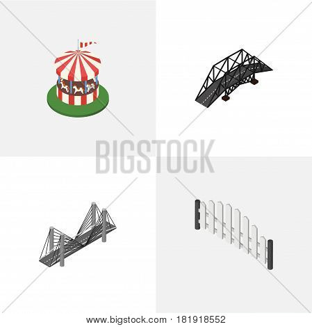 Isometric City Set Of Carousel, Barricade, Bridge And Other Vector Objects. Also Includes Horses, Wooden, Attraction Elements.