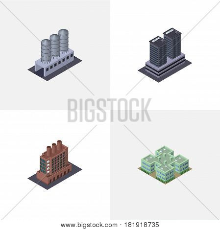 Isometric Architecture Set Of Water Storage, Tower, Clinic And Other Vector Objects. Also Includes Hospital, Firm, Storage Elements.