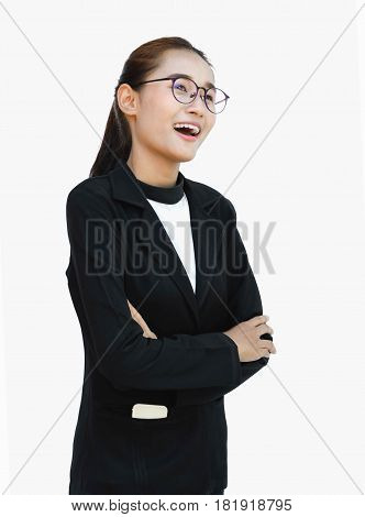 portrait of asian businesswoman isolated on white background and Bespectacled with telephone