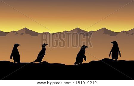 Collection stock penguin scenery silhouettes vector illustration