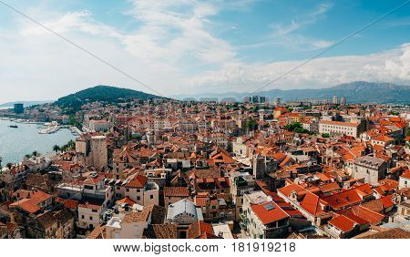 Split, old town, Croatia. View from the tower-bell tower to the whole city from above.