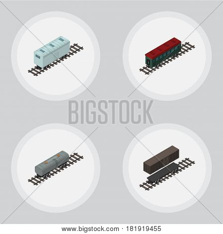 Isometric Wagon Set Of Subway Vehicle, Railroad Carriage, Delivery Tank And Other Vector Objects. Also Includes Tank, Petroleum, Oil Elements.