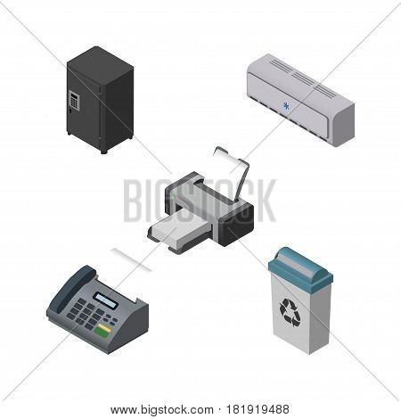 Isometric Office Set Of Printing Machine, Wall Cooler, Office Phone And Other Vector Objects. Also Includes Junk, Conditioner, Locked Elements.
