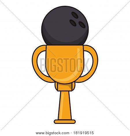 bowling trophy sport golden image vector illustration eps 10