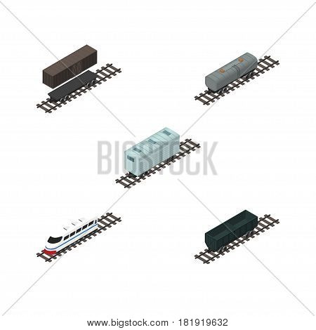 Isometric Train Set Of Railroad Carriage, Underground, Oil Wagon And Other Vector Objects. Also Includes Carriage, Container, Metal Elements.