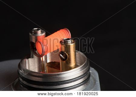 Vaping Device With A Hot Spring On A Black Background For Evaporation
