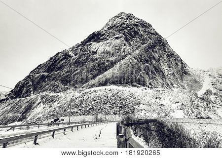 Ancient cliff black-white video. Lofoten islands. Beautiful Norway landscape.